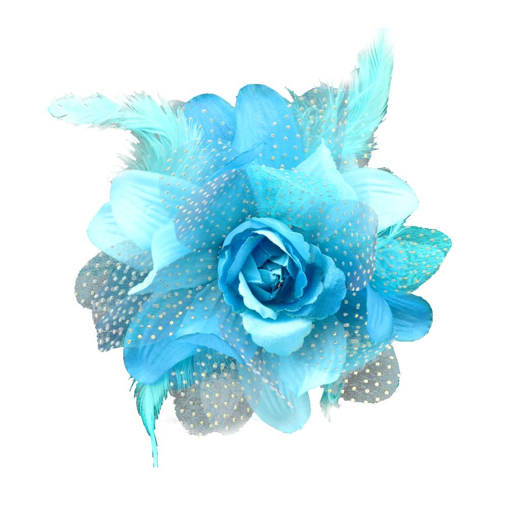 Flor de organza y pluma turquesa