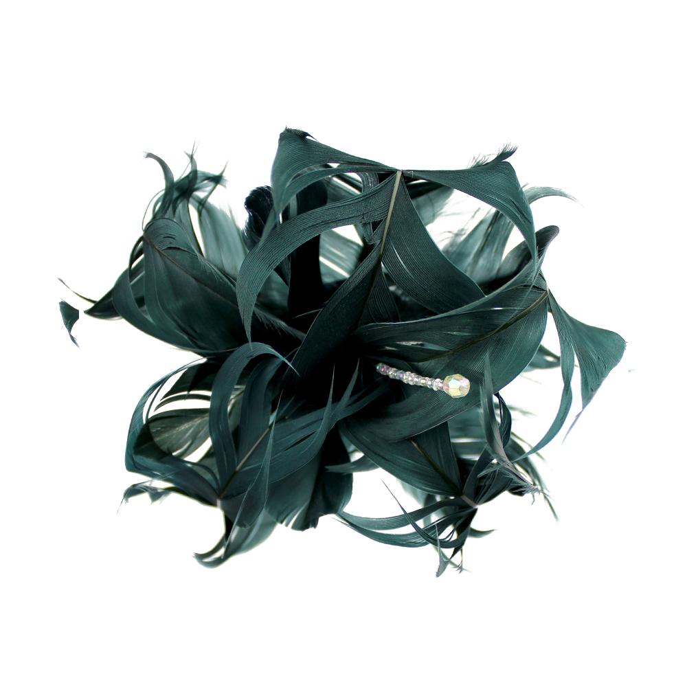 Flor de plumas verde mar oscuro