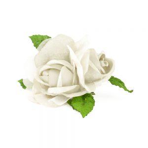 Flor doble terciopelo y organza crudo