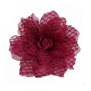 Flor encaje organza granate