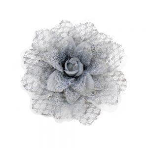 Flor encaje organza gris