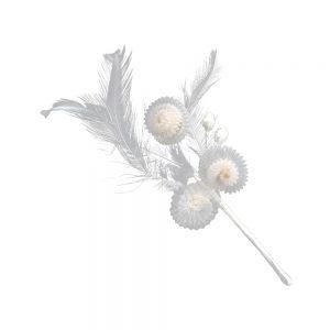 Flor organza plisada y plumas crudo