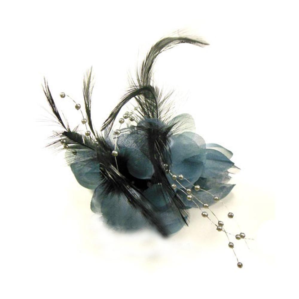 Flor perla 10 cm gris oscuro