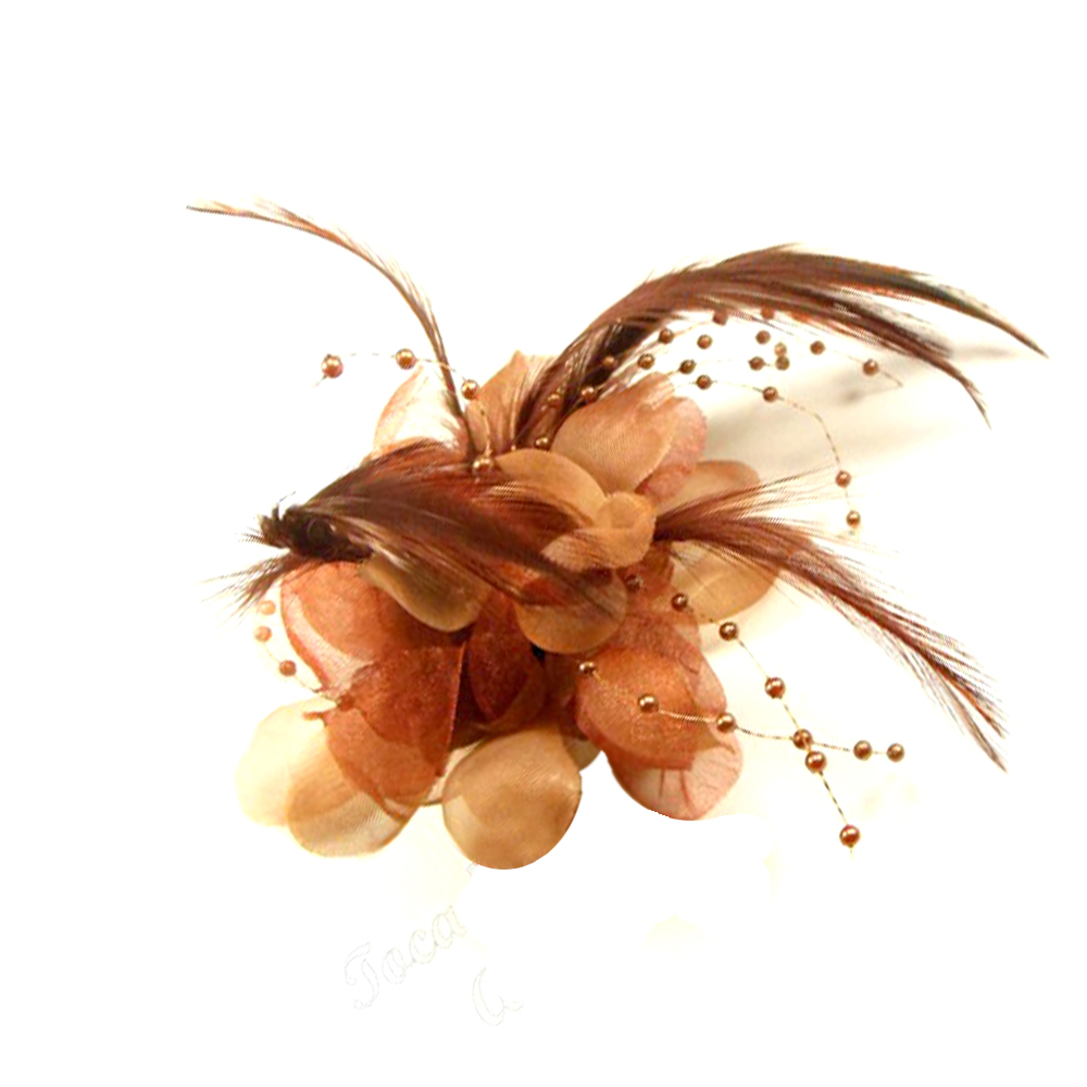 Flor perla 10 cm marrón
