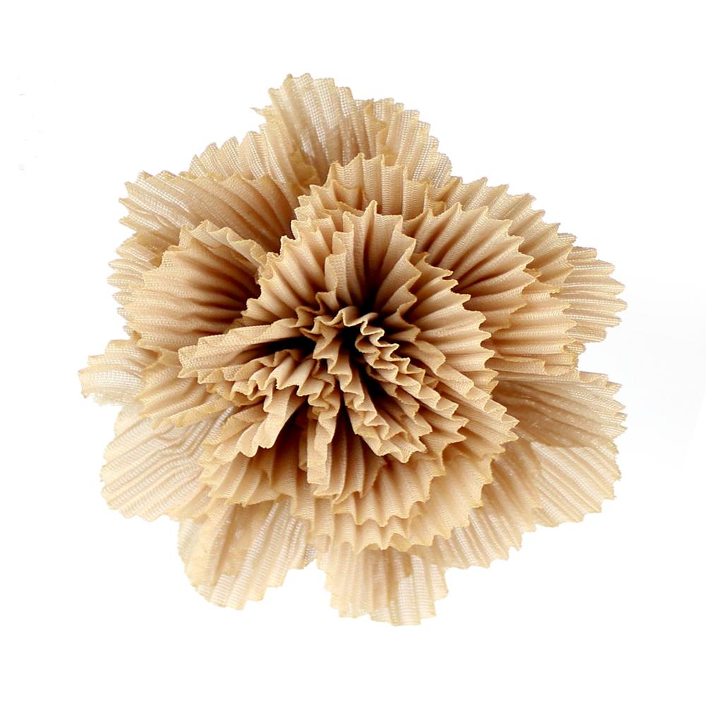 Flor plisada 8 CM BEIGE