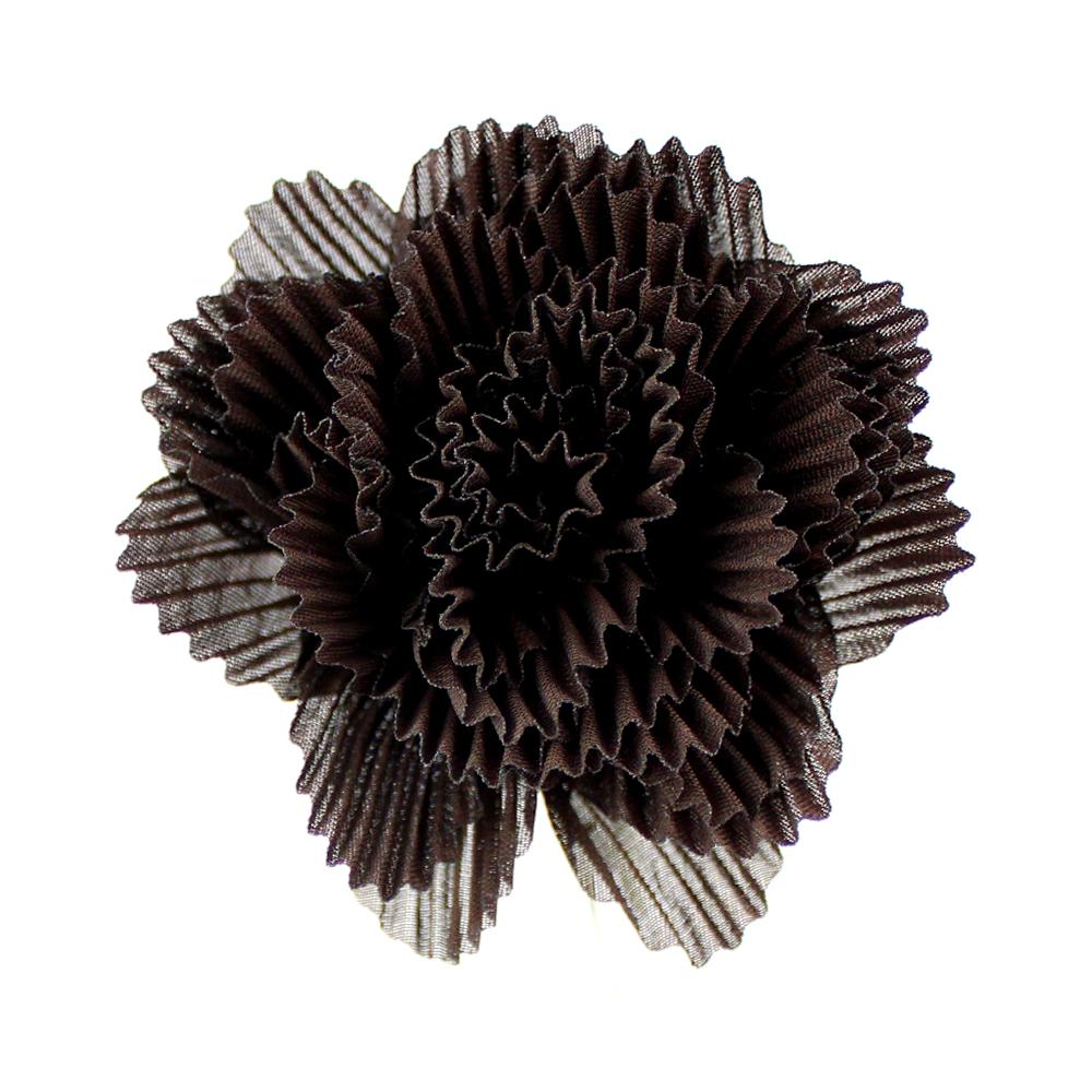 Flor plisada 8 CM CHOCOLATE