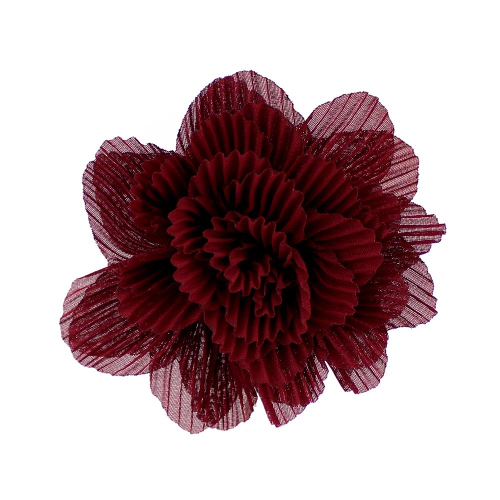 Flor plisada 8 CM GRANATE