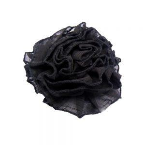 Flor tejido 14 cm negro