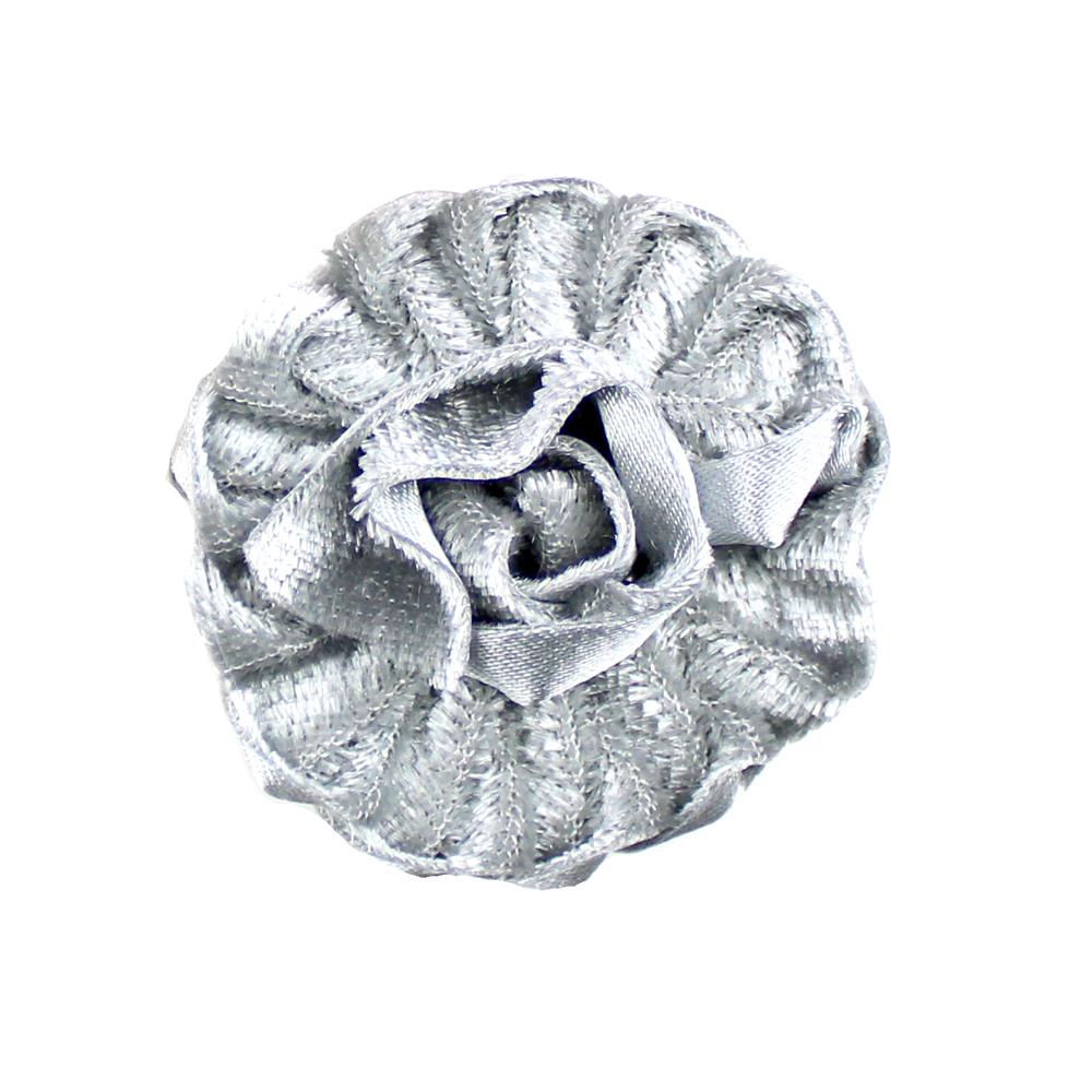 Flor terciopelo termoadhesiva 4 cm plata