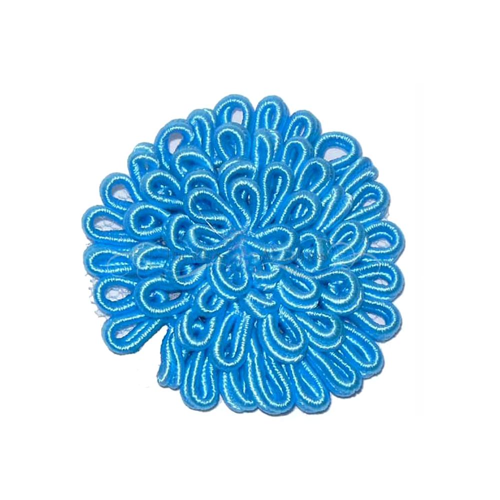 Flor termoadhesiva grande 6cm turquesa