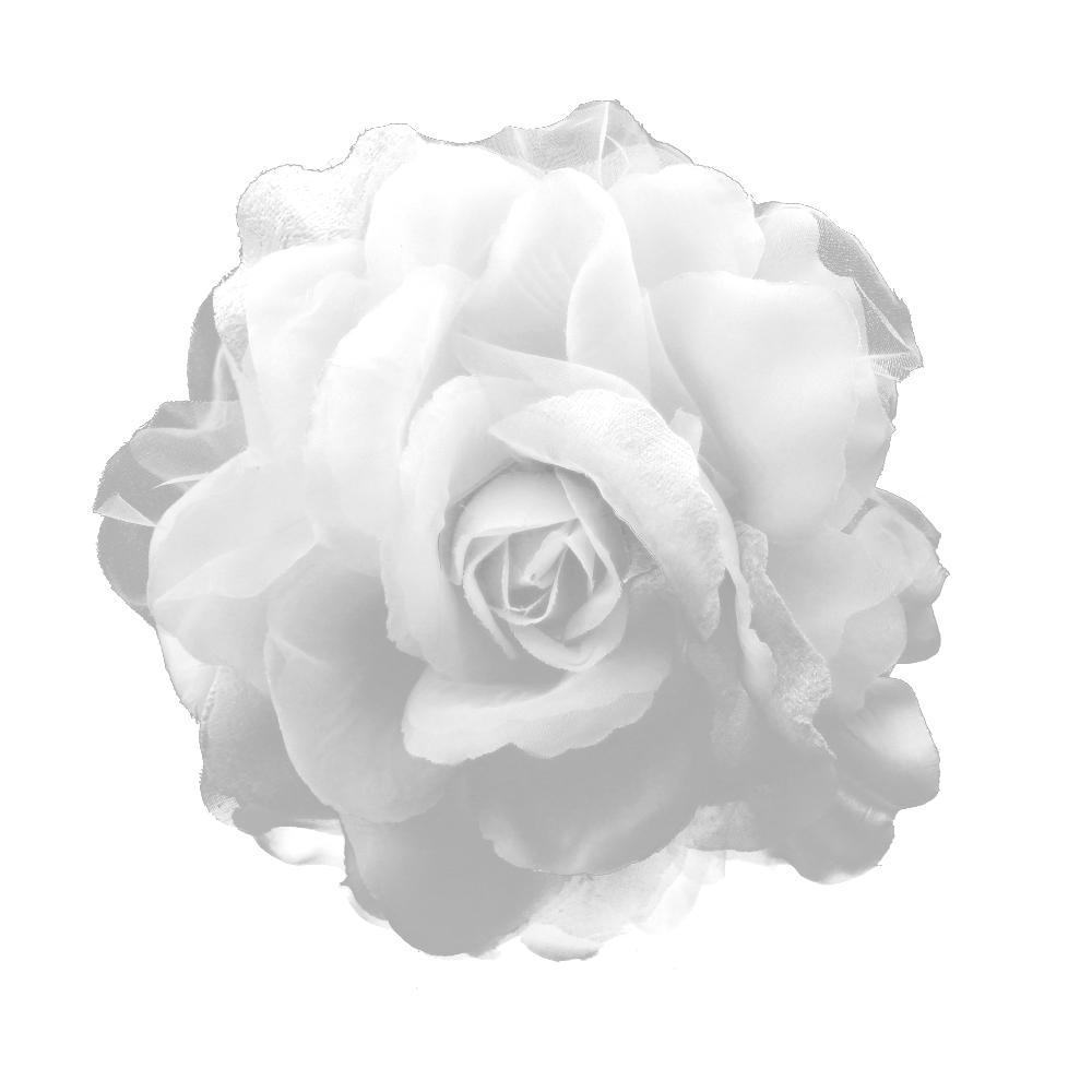 Flor tul y terciopelo blanco