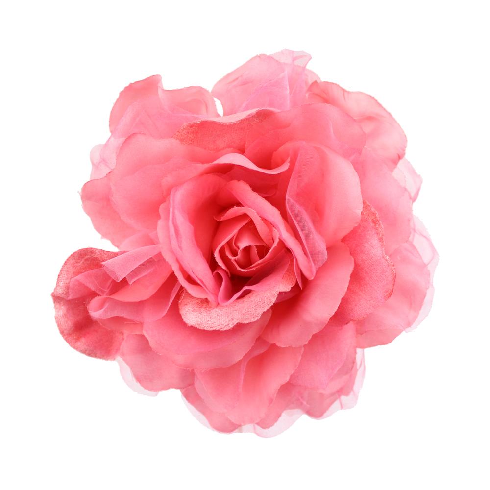 Flor tul y terciopelo rosa
