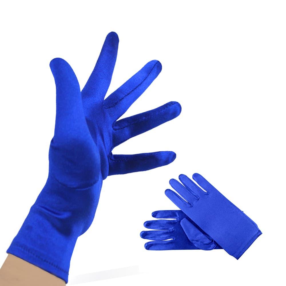 Guantes Raso cortos azul klein