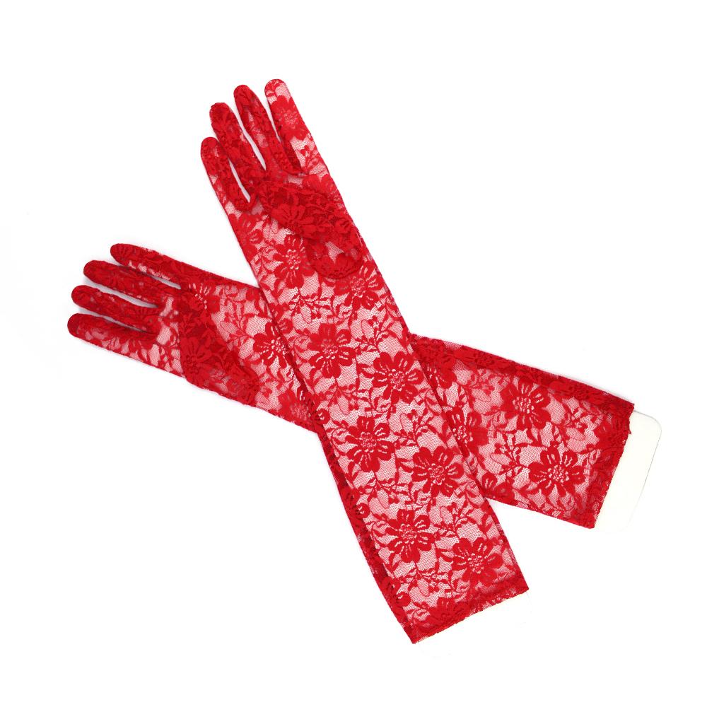 Guantes de encaje 40 cm rojo