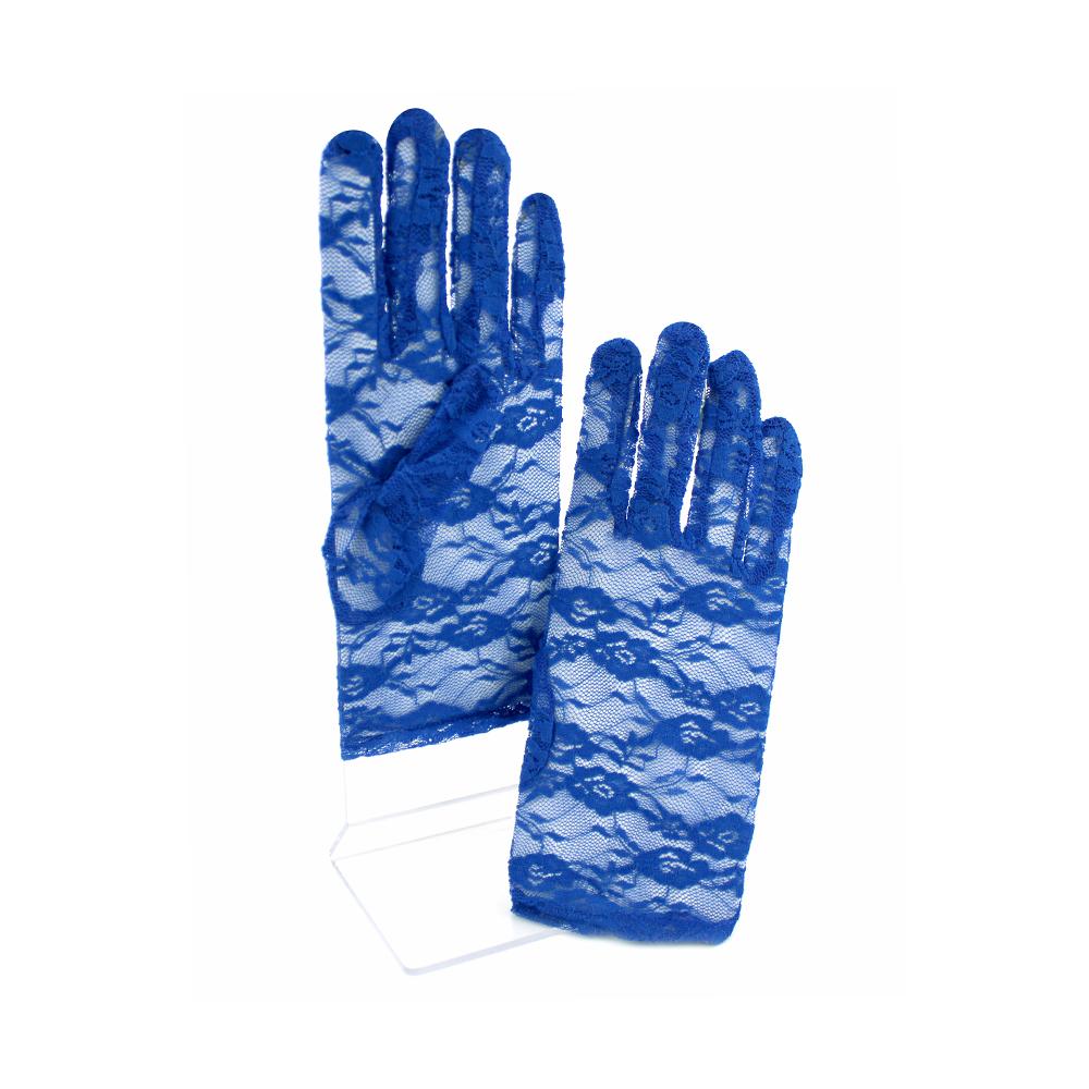 Guantes de encaje cortos azul klein