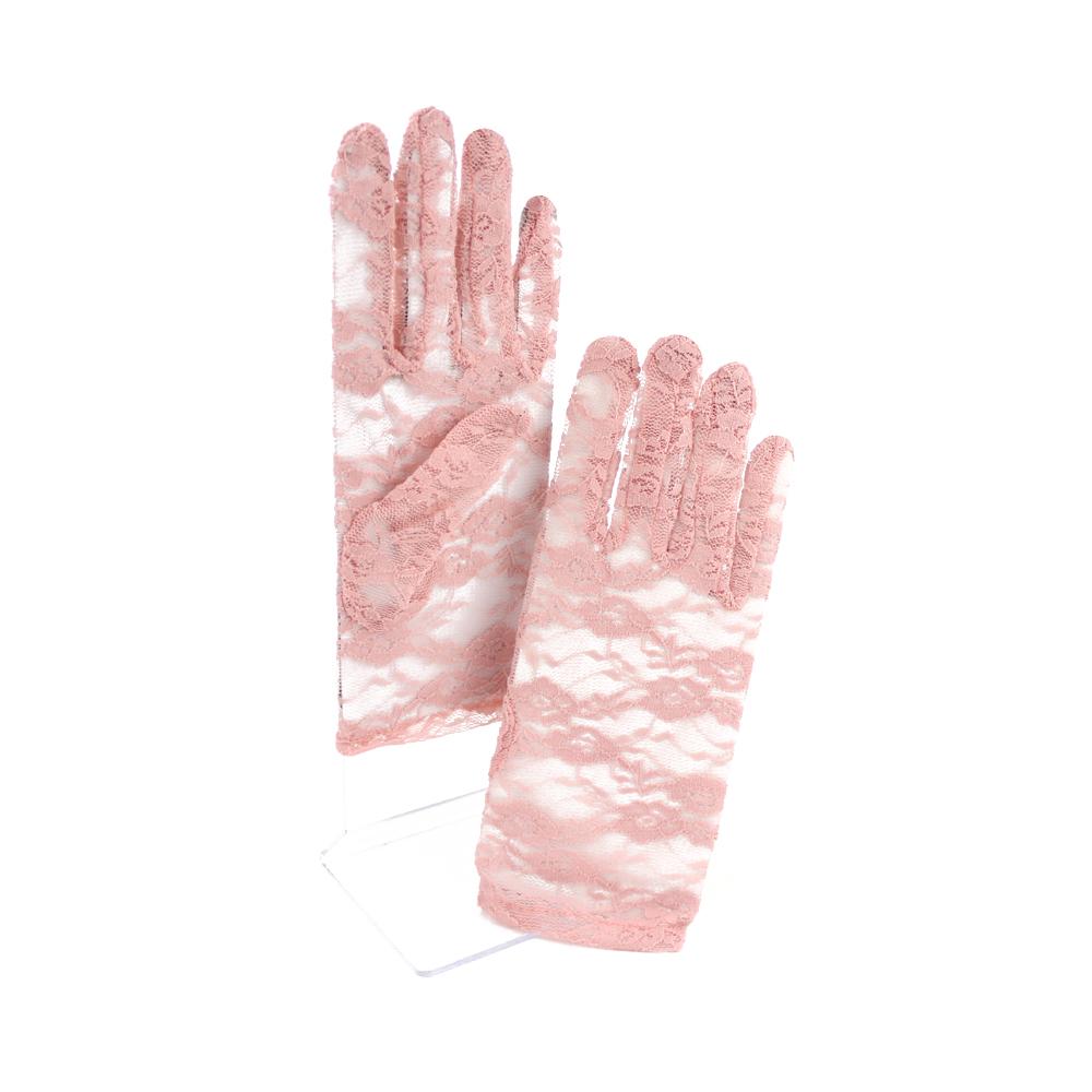 Guantes de encaje cortos rosa nude