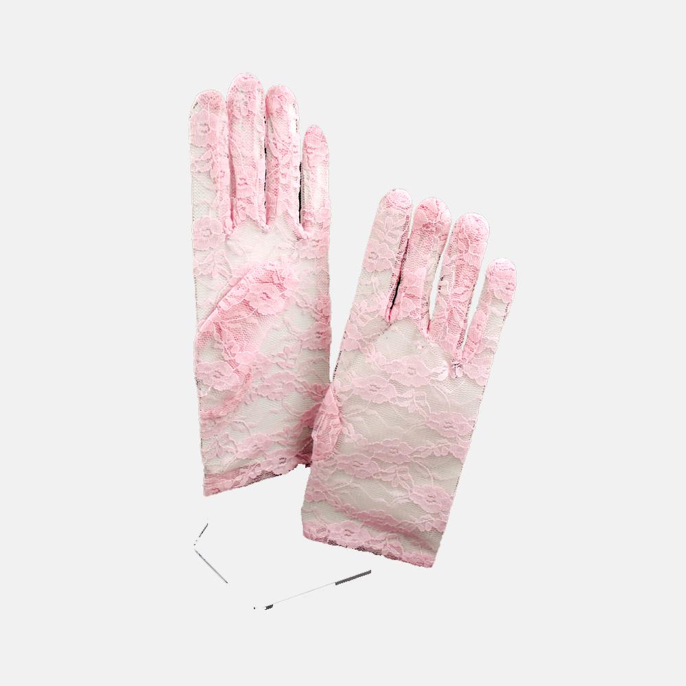 Guantes de encaje cortos rosa