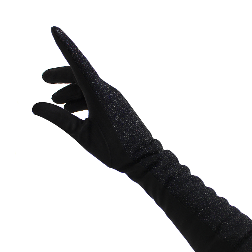 Guantes terciopelo brillo negro