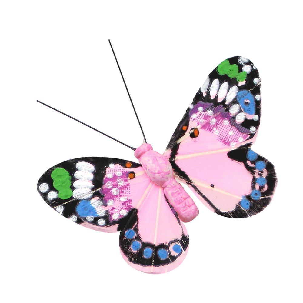 Mariposa Plumas 11 cm rosa