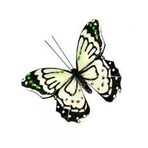 Mariposa Plumas 9 cm blanco