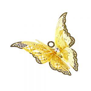 Mariposa de latón y cristal oro