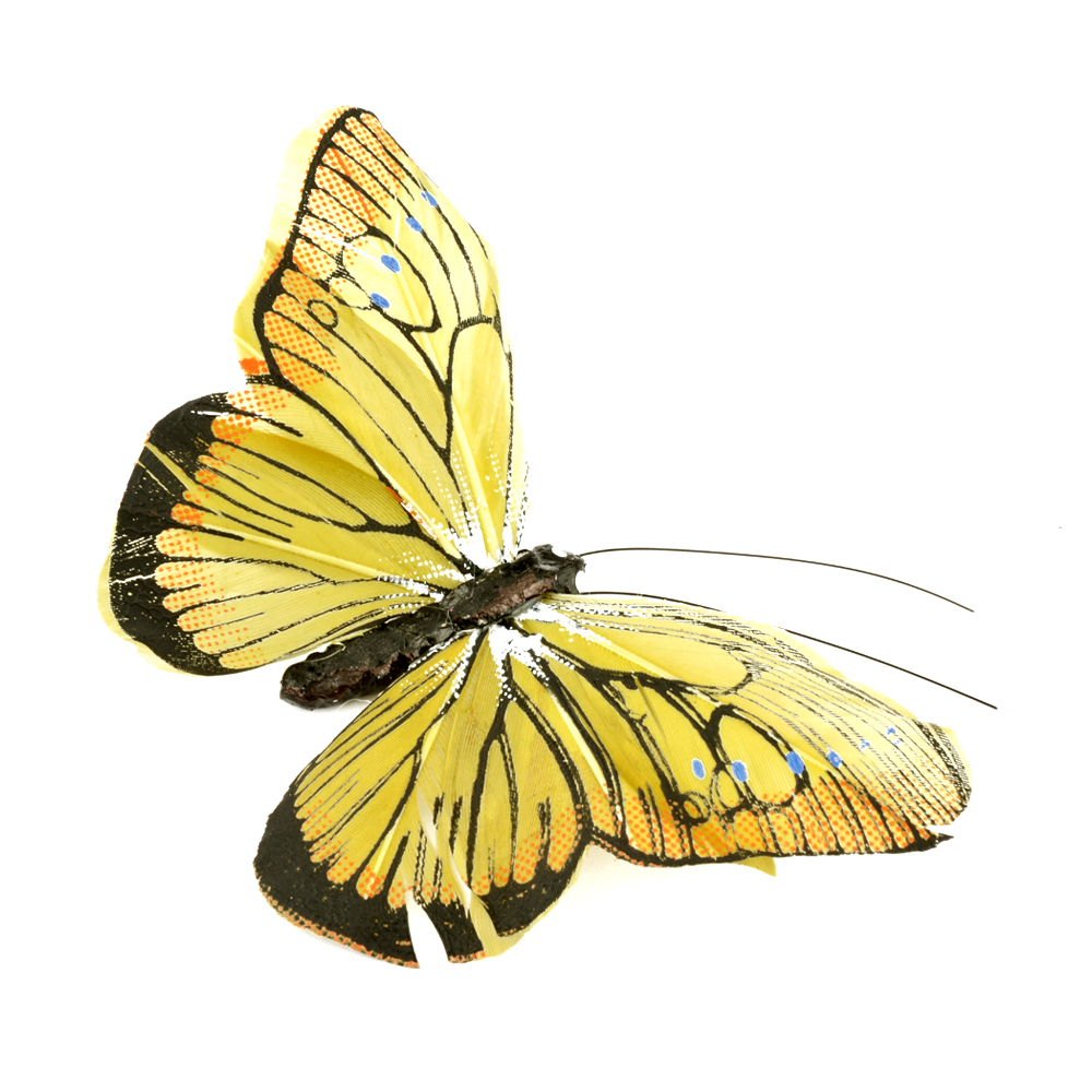Mariposa de plumas 10 cm amarillo