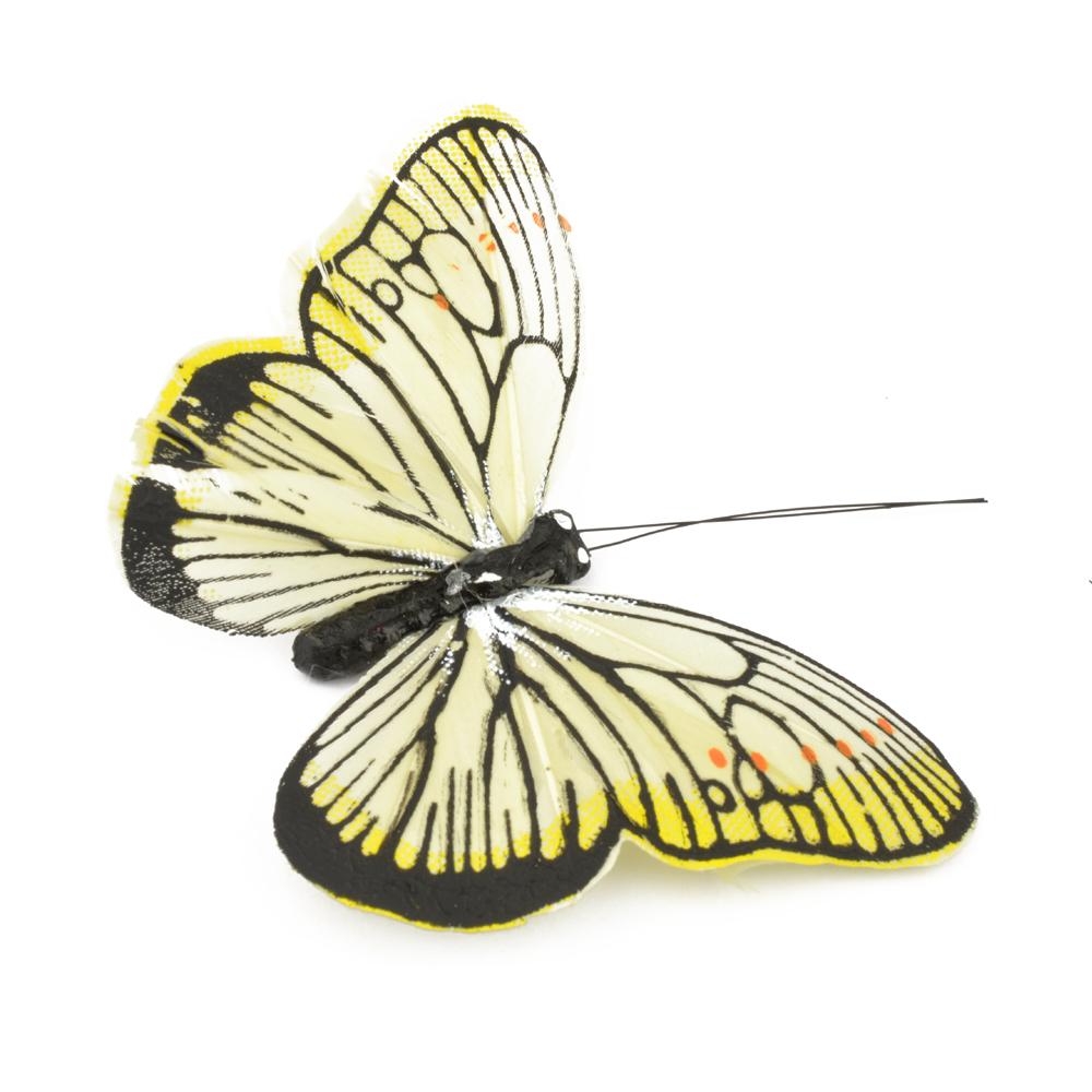 Mariposa de plumas 10 cm beige