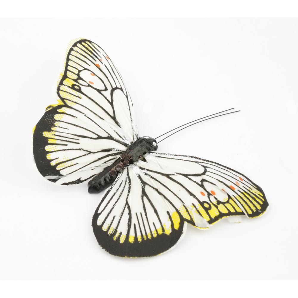 Mariposa de plumas 10 cm blanco