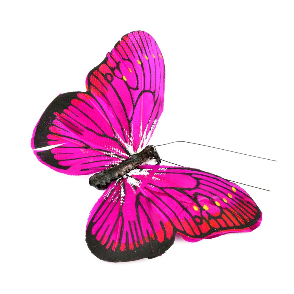 Mariposa de plumas 10 cm fucsia