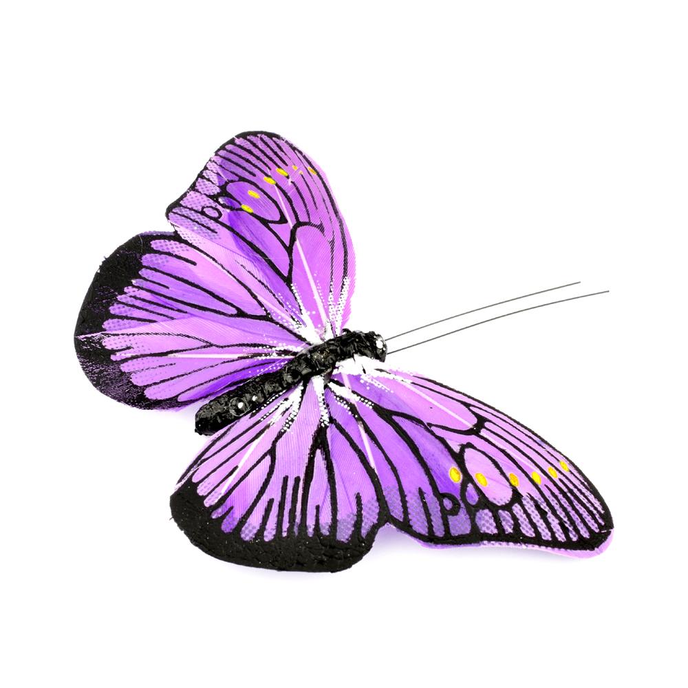 Mariposa de plumas 10 cm morado