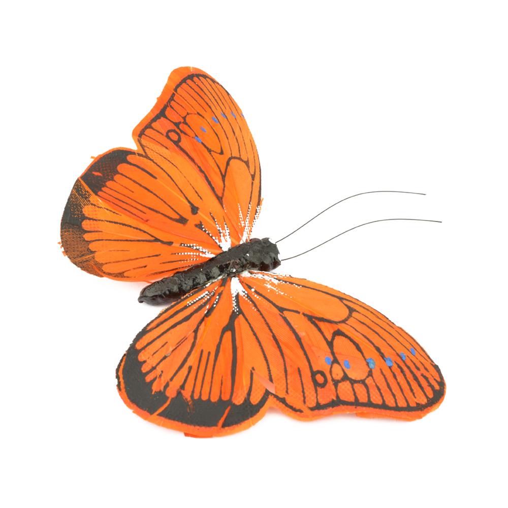 Mariposa de plumas 10 cm naranja