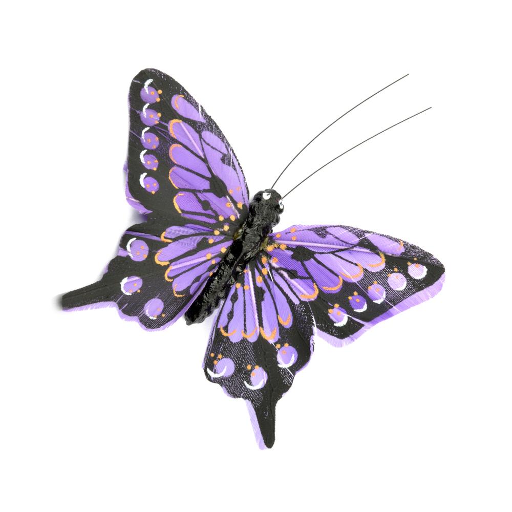 Mariposa de plumas 8 cm lila