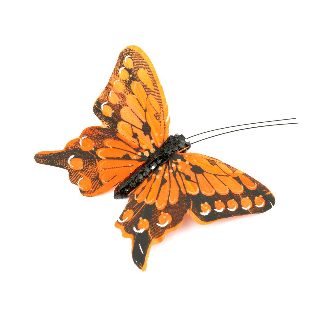 Mariposa de plumas 8 cm naranja
