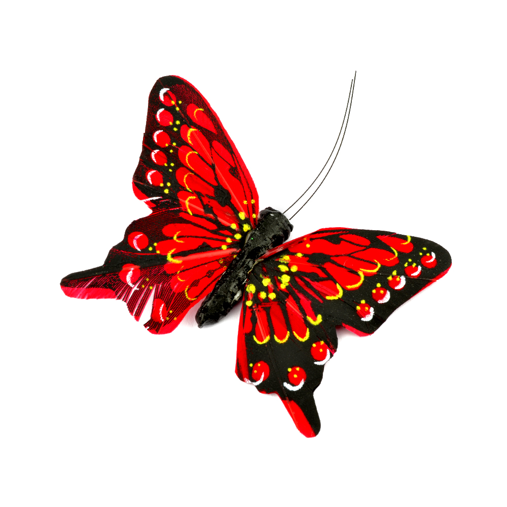 Mariposa de plumas 8 cm rojo