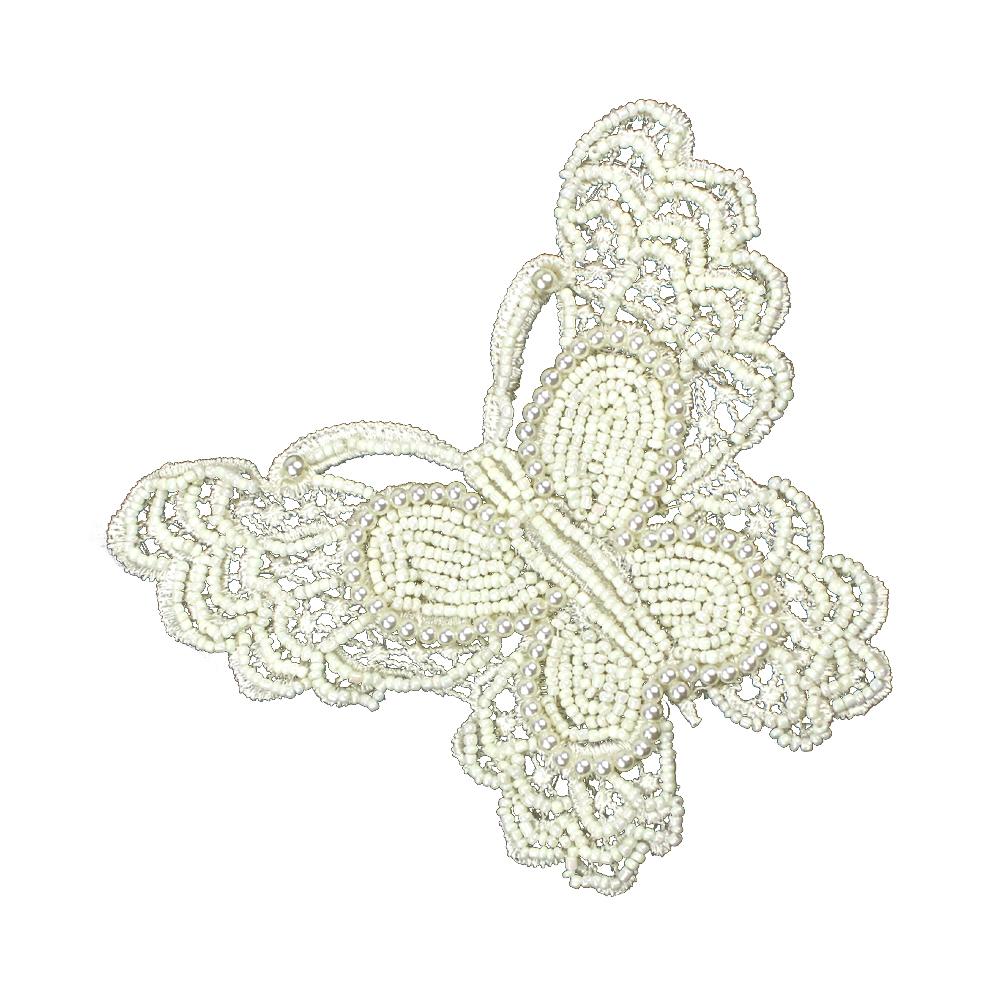 Mariposa de rocalla y perlas blanco