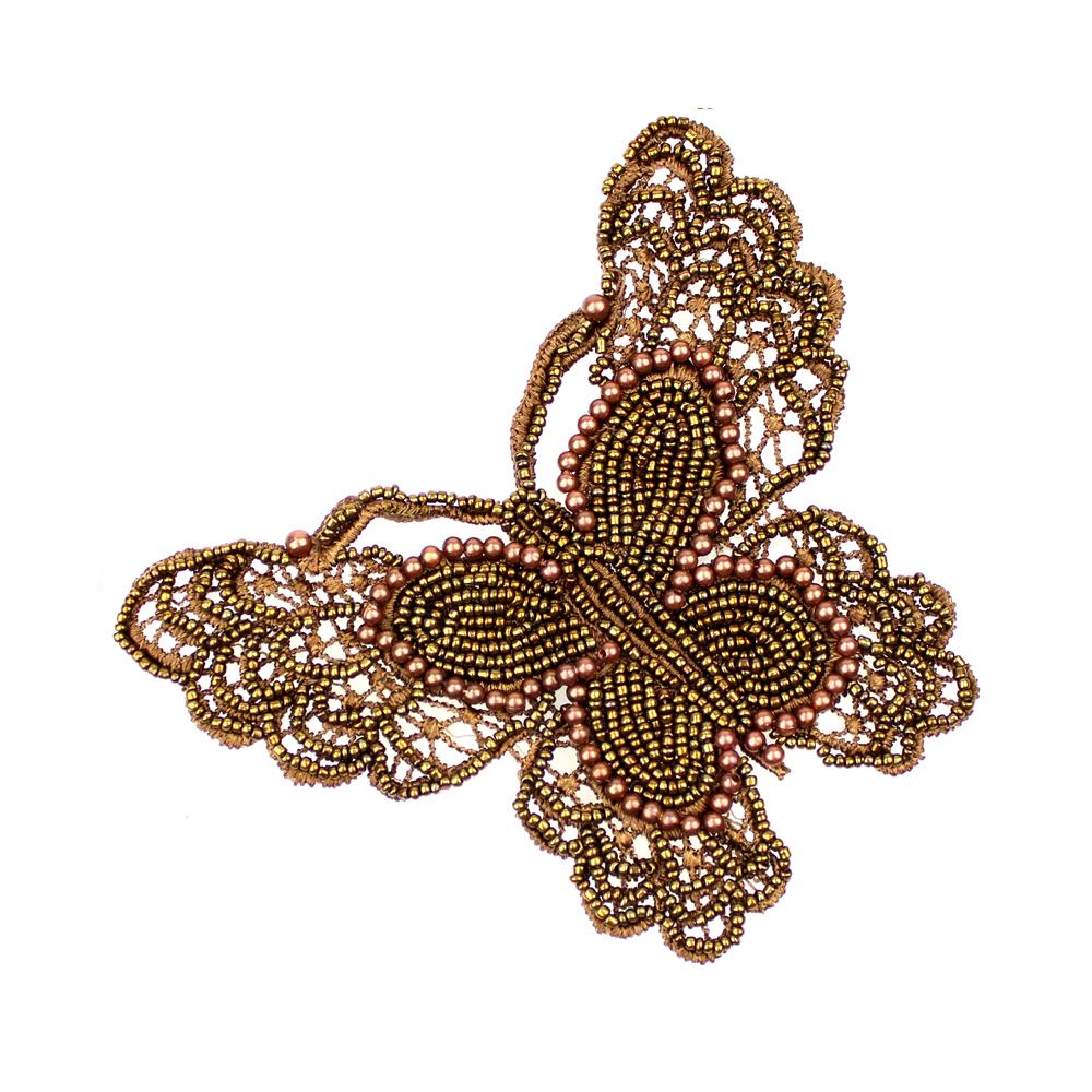 Mariposa de rocalla y perlas cobre