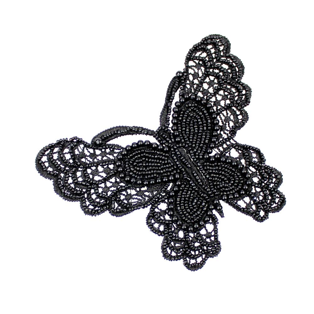 Mariposa de rocalla y perlas negro