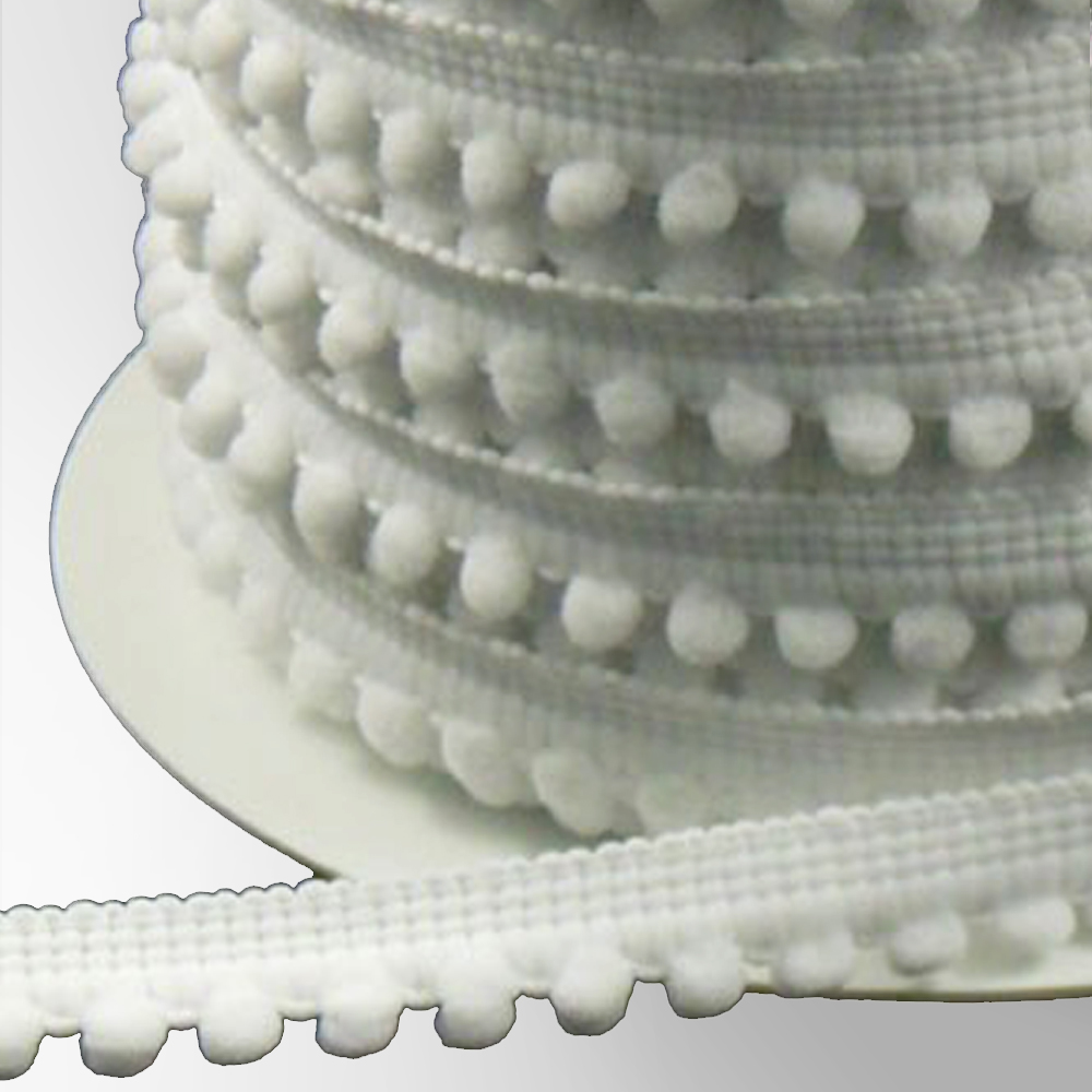 Merceria borlas pequeñas 1 2 CM blanco