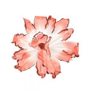 Orquidea perfilada de organdí rojo