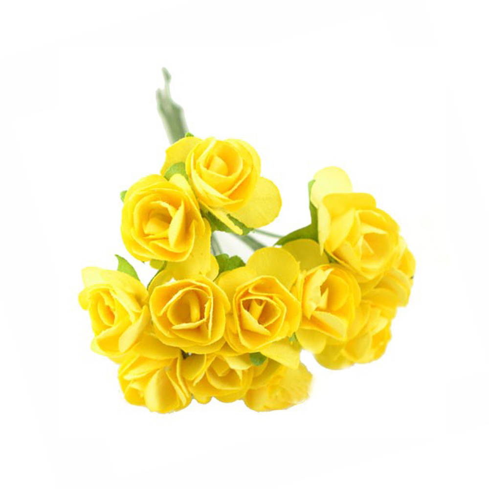 Pack 3 Ramillete mini rosas amarillo