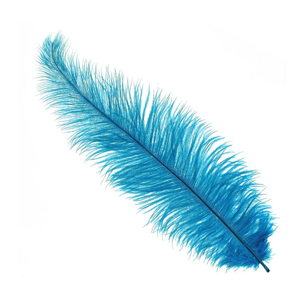 Pluma Avestruz 35 azul medio