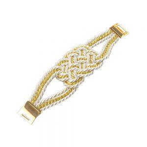 Pulsera cordón trenzado blanco y oro