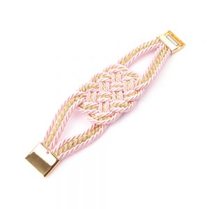 Pulsera cordón trenzado oro y rosa