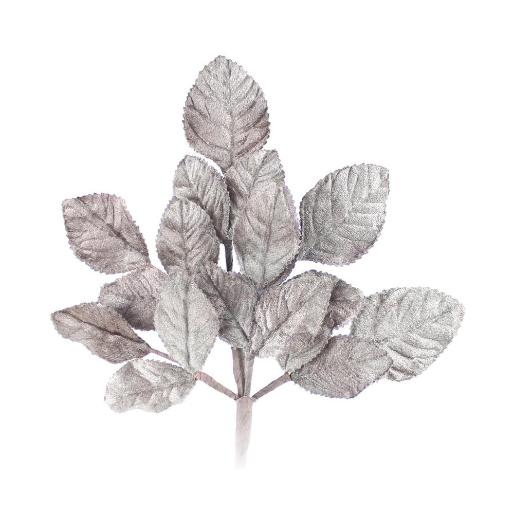 Ramillete Hojas terciopelo 21 cm gris medio