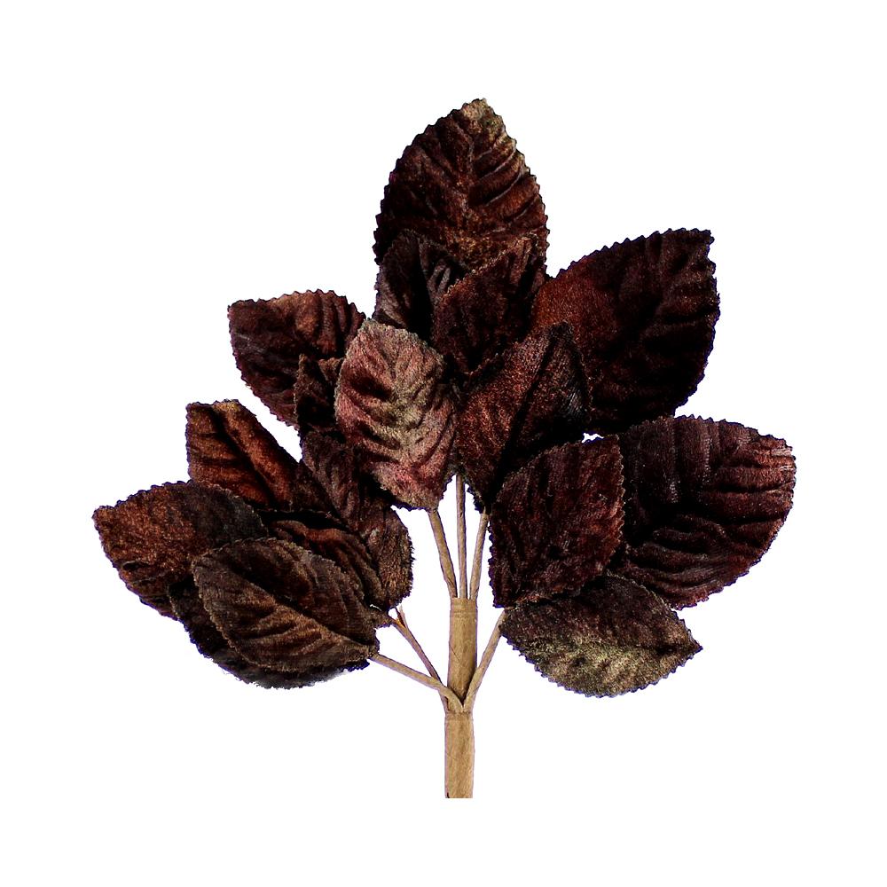 Ramillete Hojas terciopelo 21 cm marrón