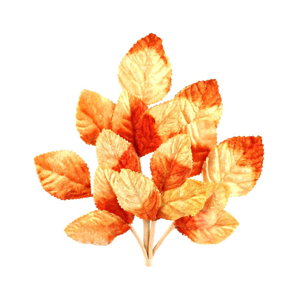 Ramillete Hojas terciopelo 21 cm naranja