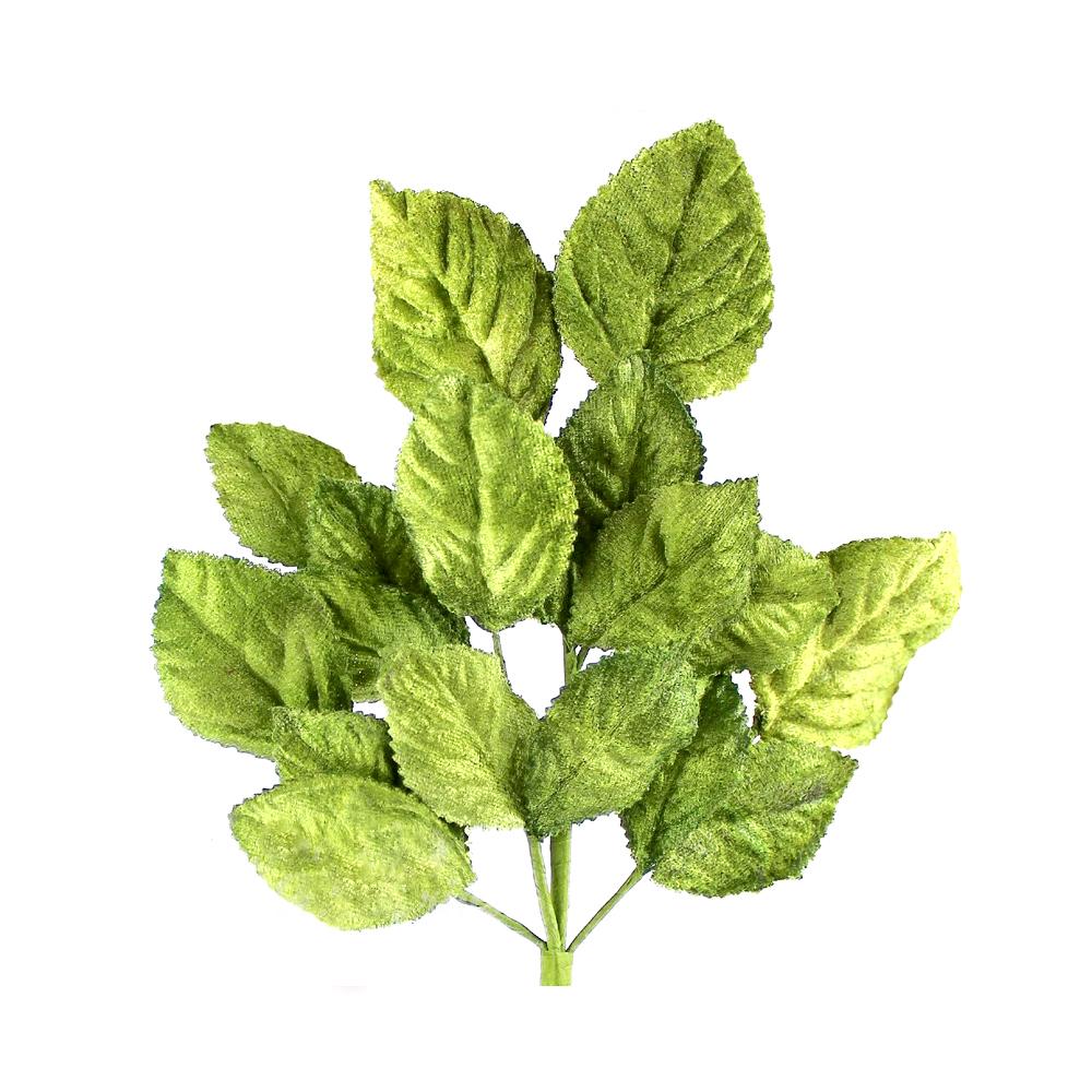 Ramillete Hojas terciopelo 21 cm verde medio