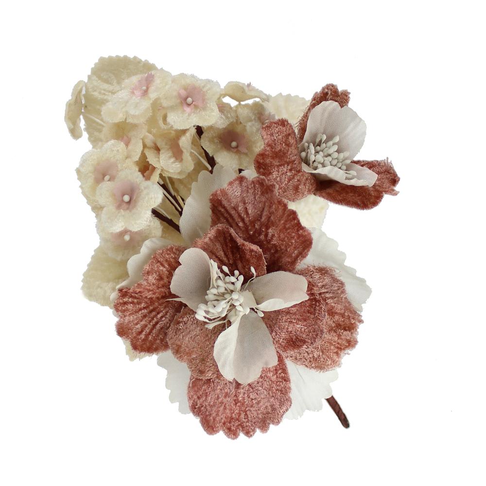 Ramillete cluster terciopelo rosa nude
