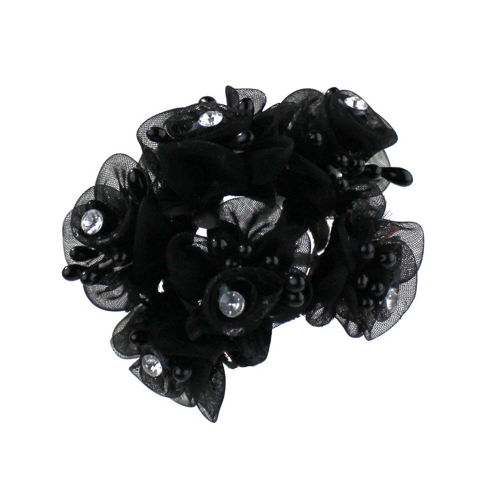 Ramillete organza pistilos strass negro