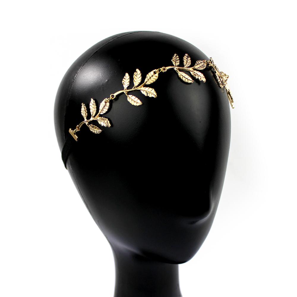Tiara de hojas de latón con elástico oro